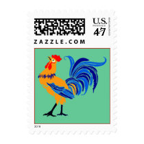 Stamp Colorful folk art rooster chicken postage