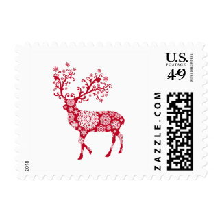 Stamp design with red Christmas deer
