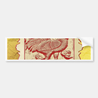 Stamp Effect Rooster in Frame, Gold Look Backgroun Bumper Sticker