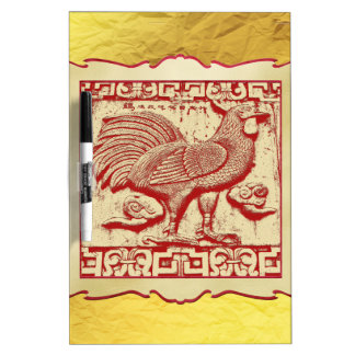 Stamp Effect Rooster in Frame, Gold Look Backgroun Dry Erase Board