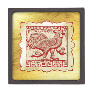 Stamp Effect Rooster in Frame, Gold Look Backgroun Jewelry Box