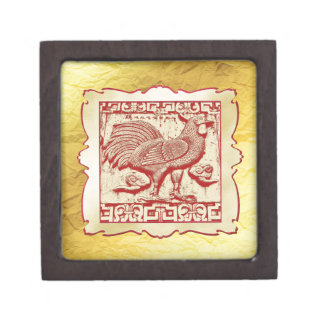 Stamp Effect Rooster in Frame, Gold Look Backgroun Keepsake Box