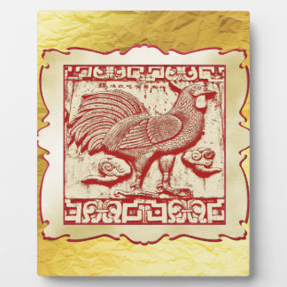 Stamp Effect Rooster in Frame, Gold Look Backgroun Plaque