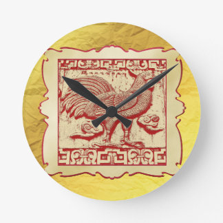 Stamp Effect Rooster in Frame, Gold Look Backgroun Round Clock