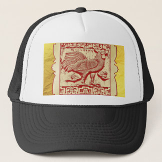 Stamp Effect Rooster in Frame, Gold Look Backgroun Trucker Hat