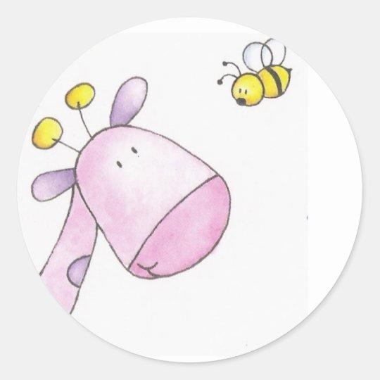 stamp girafe et abeille classic round sticker