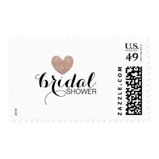 Stamp - Glitter Heart Fab Bridal Shower Rose Gold