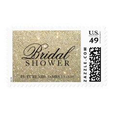 Stamp - Gold Glit Bridal Shower at Zazzle