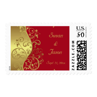 Stamp--Gold Swirls and Red Postage