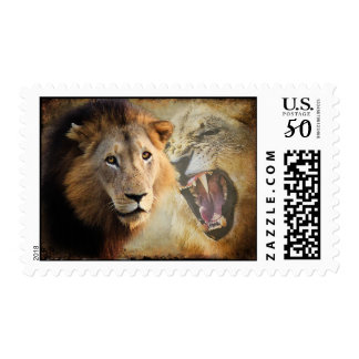 Stamp Lion portrait from Africa