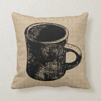 Stamp Look Coffee Mug Pillows