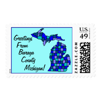 Stamp Michigan Greetings From counties Maps State