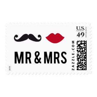 Stamp Mr. and Mrs. with mustache and red lips
