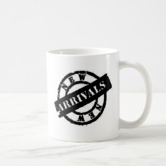 stamp new arrivals black coffee mug