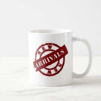 stamp new arrivals red coffee mug