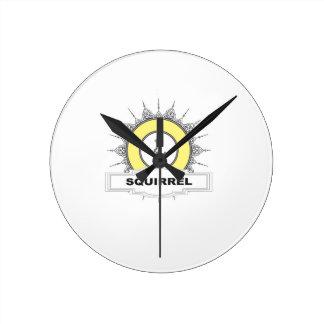 stamp of yellow squirrel round clock