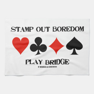 Stamp Out Boredom Play Bridge Four Card Suits Hand Towel