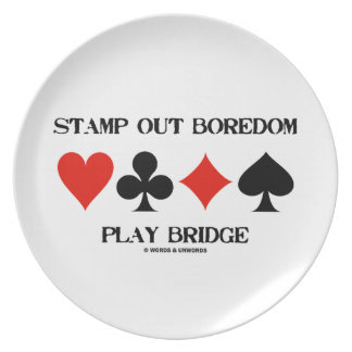 Stamp Out Boredom Play Bridge Four Card Suits Plate