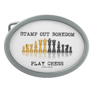 Stamp Out Boredom Play Chess (Reflective Chess) Belt Buckle