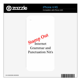 Stamp Out Internet Grammar And Punctuation Nits Decal For iPhone 4