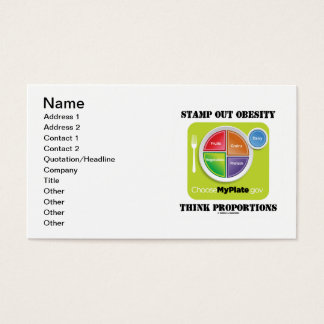 Stamp Out Obesity Think Proportions (MyPlate.gov) Business Card