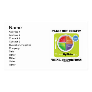 Stamp Out Obesity Think Proportions (MyPlate.gov) Business Cards