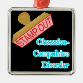 Stamp Out Obsessive-Compulsive Disorder Square Metal Christmas Ornament