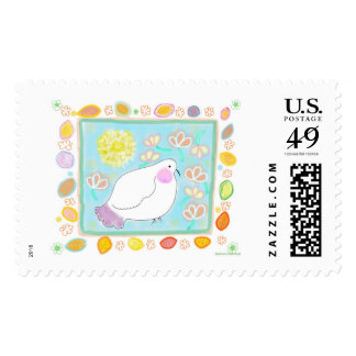 Stamp Peace Dove with  leaves