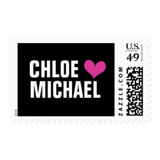 stamp - (pink heart/black)