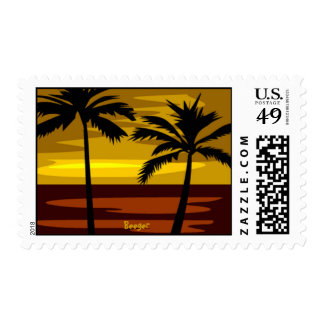 Stamp (postage) - Colorful Beach Sunset