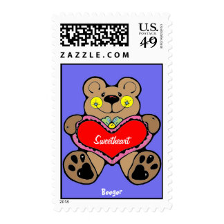 Stamp (postage) - Cute Brown Bear Holding Heart