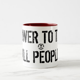 stamp, POWER TO THE HILL PEOPLE! Two-Tone Coffee Mug