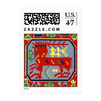 Stamp Sami Sapmi Culture Folk Art Red Reindeer