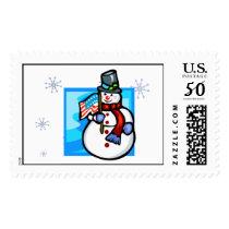 Stamp - Snowman & American Flag