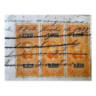 Stamp-themed postcard