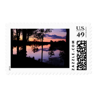 Stamp: Twilight by the lake