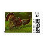 Stamp Vintage Autumn Wild Turkeys in Woodland Fall