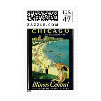 Stamp-Vintage Chicago Travel Art-1 Stamp