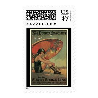 Stamp-Vintage Chicago Travel Art-3 Postage Stamp
