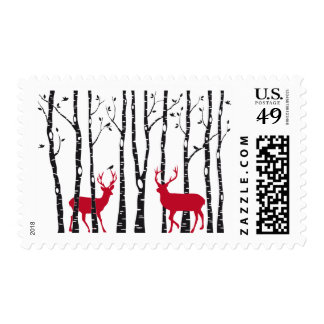 Stamp with Christmas deers and birch trees