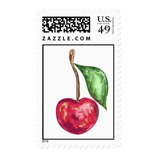 Stamp with crystal cherry