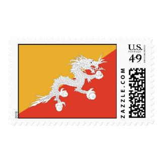 Stamp with Flag of Bhutan