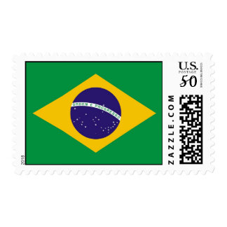 Stamp with Flag of Brazil