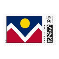 Stamp with Flag of Denver, Colorado, U.S.A.