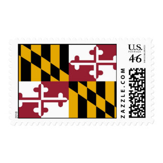 Stamp with Flag of Maryland U S A