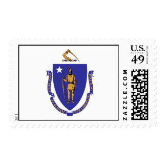 Stamp with Flag of Massachuttes, U.S.A.