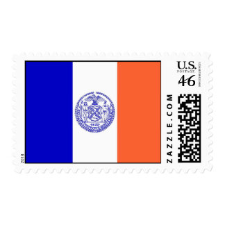 Stamp with Flag of New York U S A