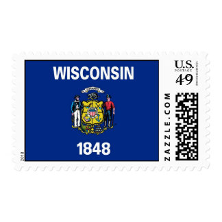 Stamp with Flag of Wisconsin, U.S.A.