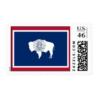 Stamp with Flag of Wyoming U S A