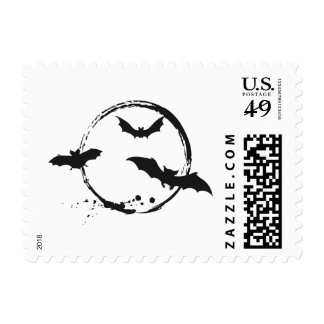 Stamp with Halloween bats and moon